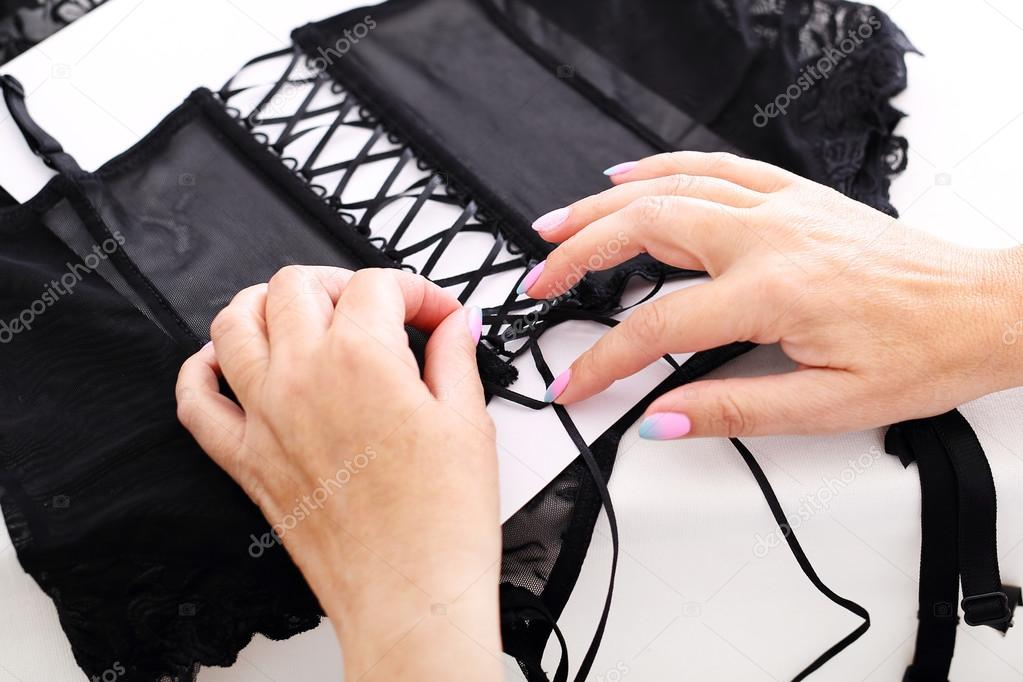 Corset lacing in the manufacturing plant underwear