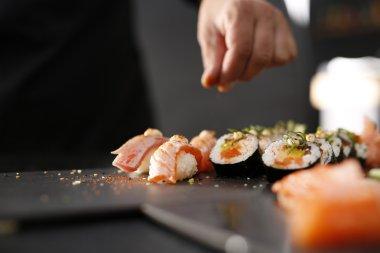 Smoked salmon nigiri sushi.