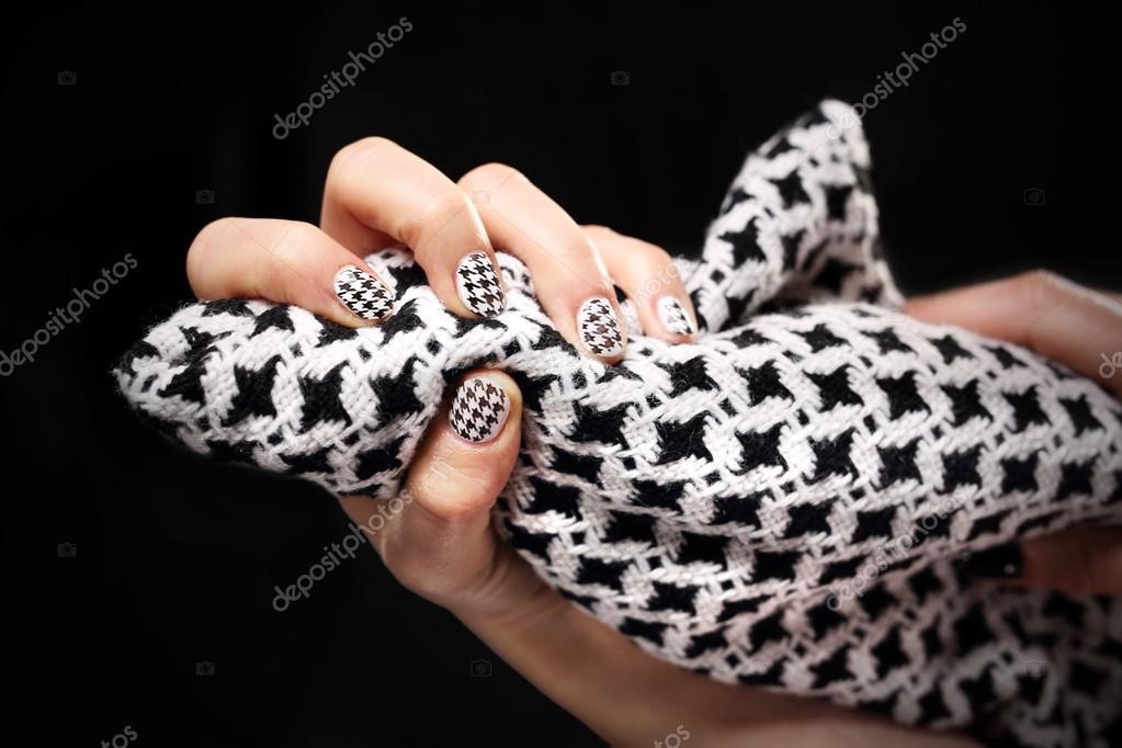 Wzór Na Manicure Paznokcie Czarno Biały Zdjęcie Stockowe