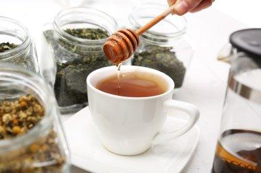 Tea sweetened with honey