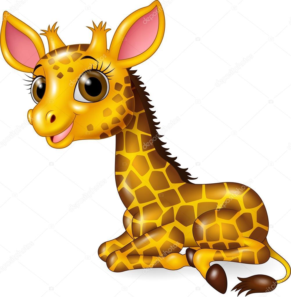 cartoon funny baby giraffe sitting isolated on white background rh depositphotos com cartoon baby giraffe drawing cartoon baby giraffe drawing