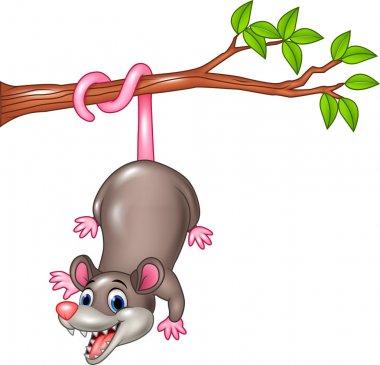 Cartoon funny Opossum on a Tree Branch