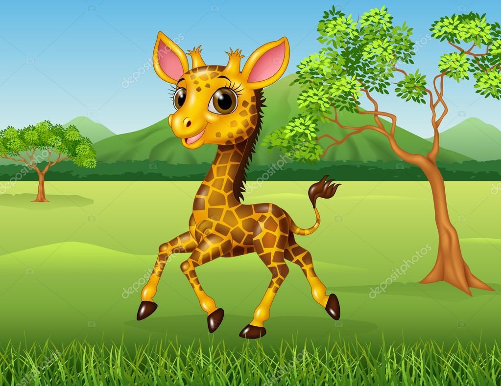 Dibujos Animados Divertida Jirafa En La Selva