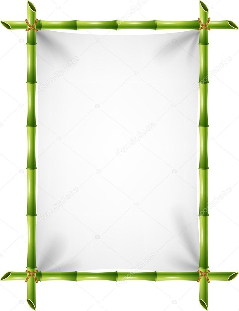Illustration der leere Zeichen mit Bambus-Rahmen — Stockvektor ...