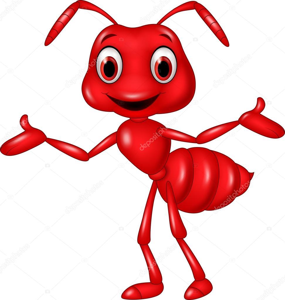 Fourmi rouge dessin anim en agitant isol sur fond blanc - Dessin d une fourmi ...