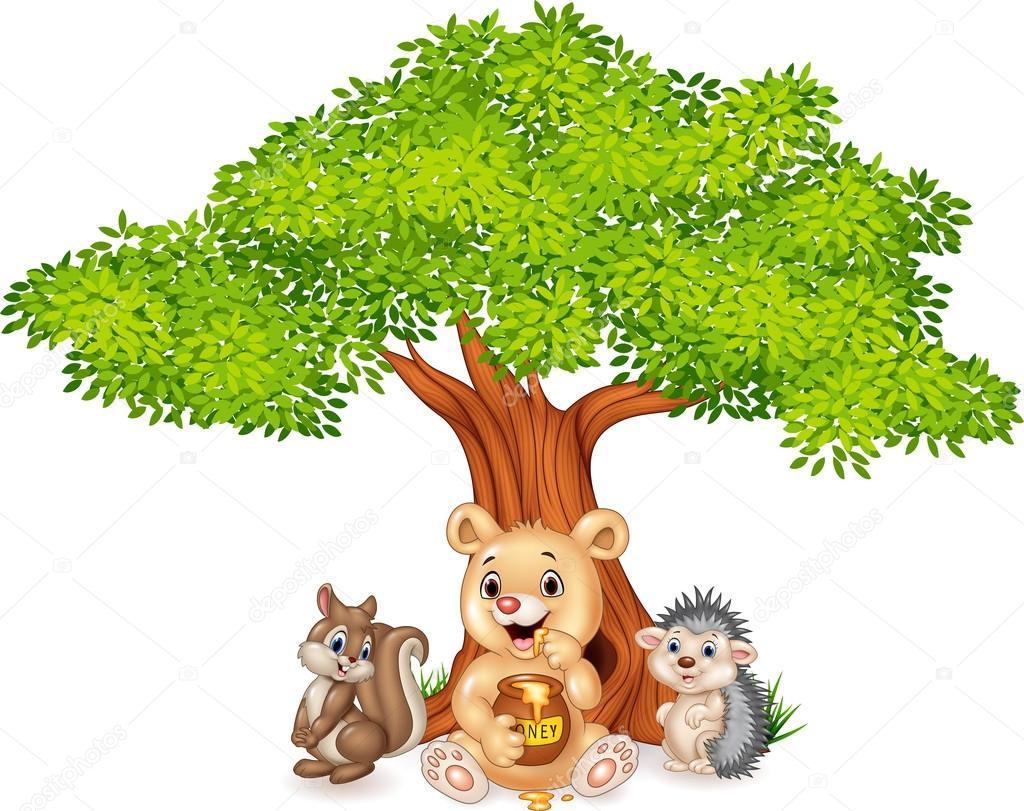 Arbol Con Ramas Animado: Dibujos Animados De Animales Divertidos En El árbol