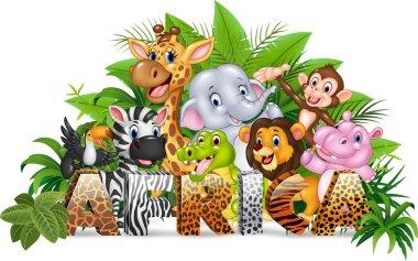 Word Africa with funny cartoon wild animal