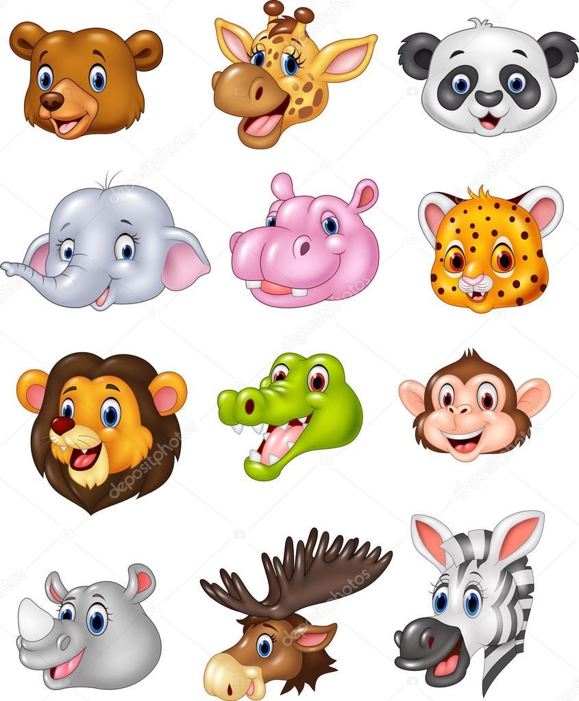 Cartoon Wild Animal Head Collection Stock Vector C Tigatelu