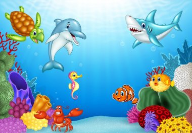Cartoon tropical fish with beautiful underwater world