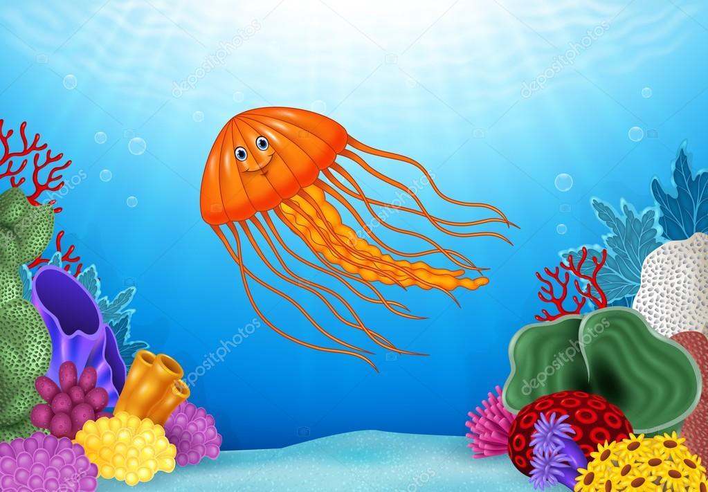Cartoon jellyfish with beautiful underwater world stock vector cartoon jellyfish with beautiful underwater world stock vector publicscrutiny Images