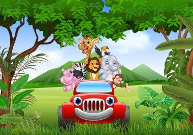 Vector illustration of Cartoon animals africa in the red car stock vector