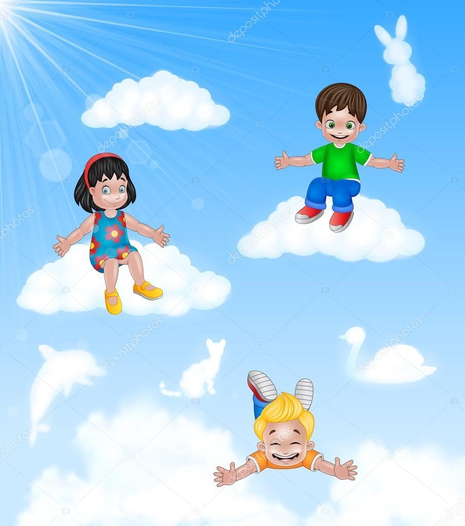 Feliz De Dibujos Animados Ni 241 Os Poco Sentado En La Nube