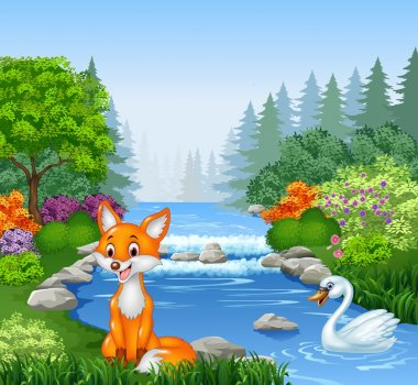 Cartoon fox and swan with Beautiful river in forest