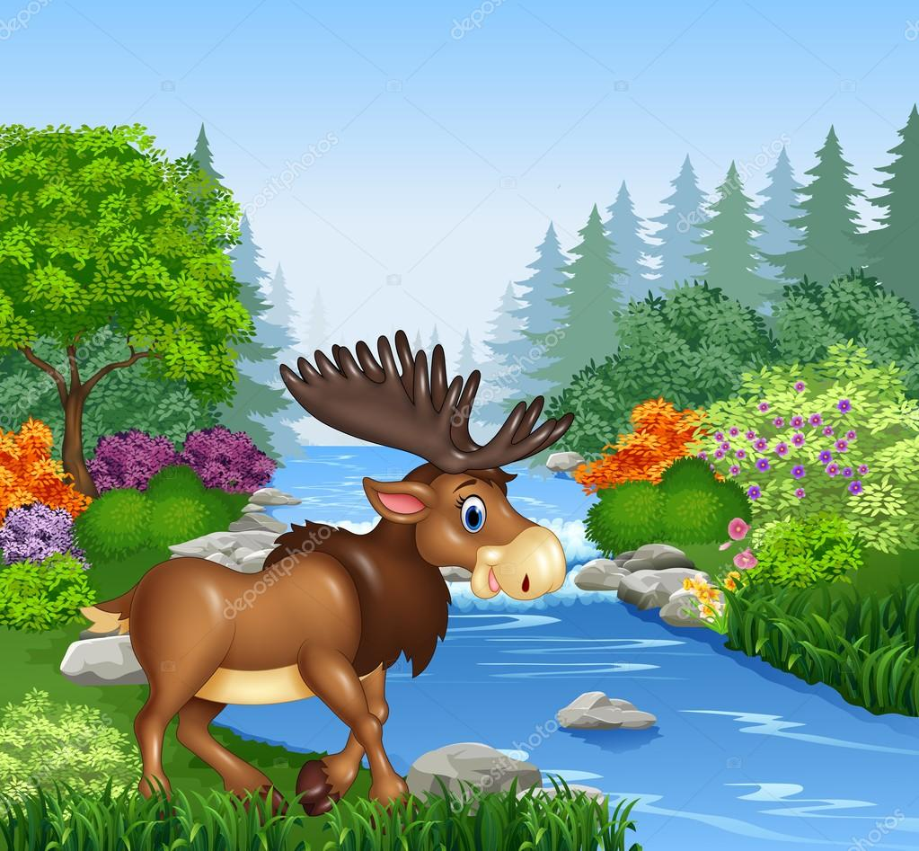 cartoon moose with big horns in beautiful river in forest moose clip art free images moose clip art free images