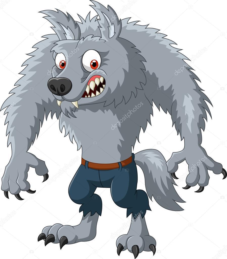 Personnage de dessin anim loup garou en col re image - Dessin loup garou ...