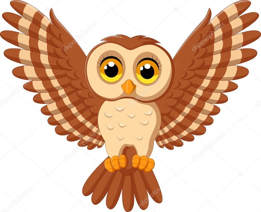 Desenhos Animados Da Coruja Bonito Voando Vetores De