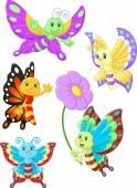 Fotografia insieme di raccolta del cartone animato carino farfalla