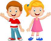 Roztomilé děti zamával rukou