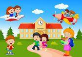 Fotografia felice fumetto scuola bambini