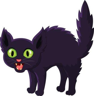 Frightened cartoon black cat