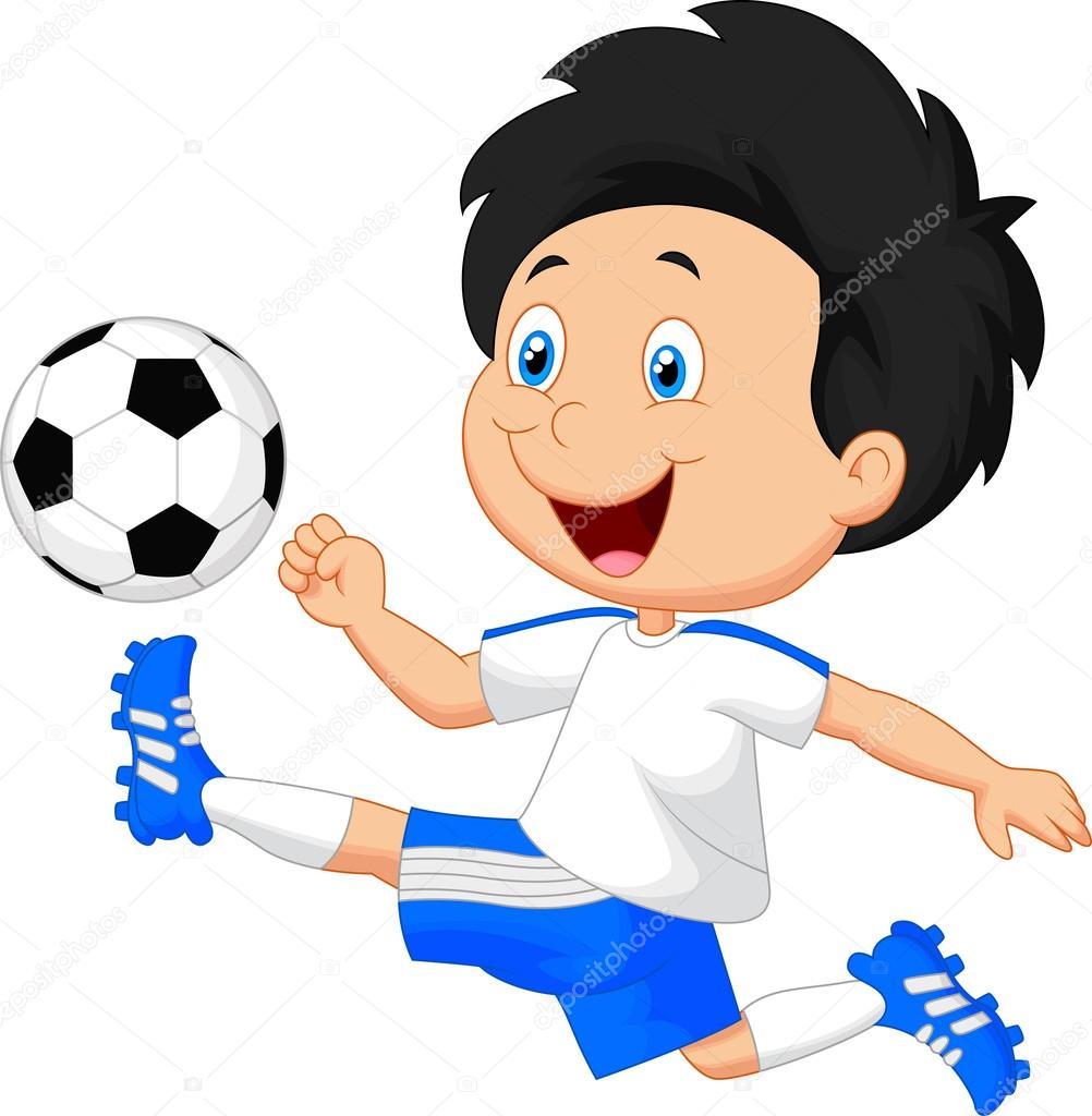Cartoon Boy Playing Football Stock Vector C Tigatelu 53334841