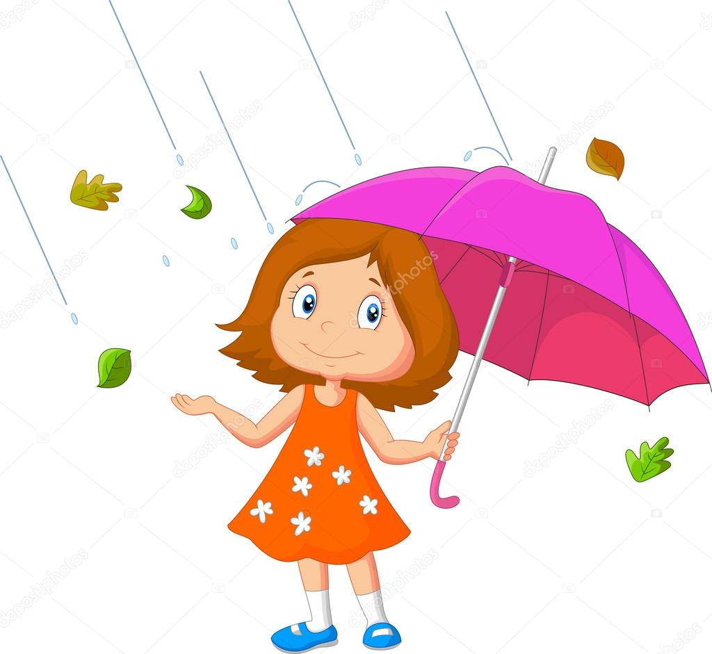 С зонтиками для девочки