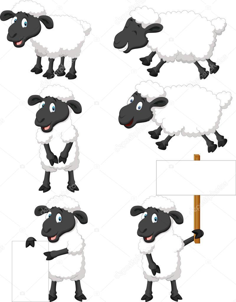 Simpatico cartone animato insieme di pecore — vettoriali