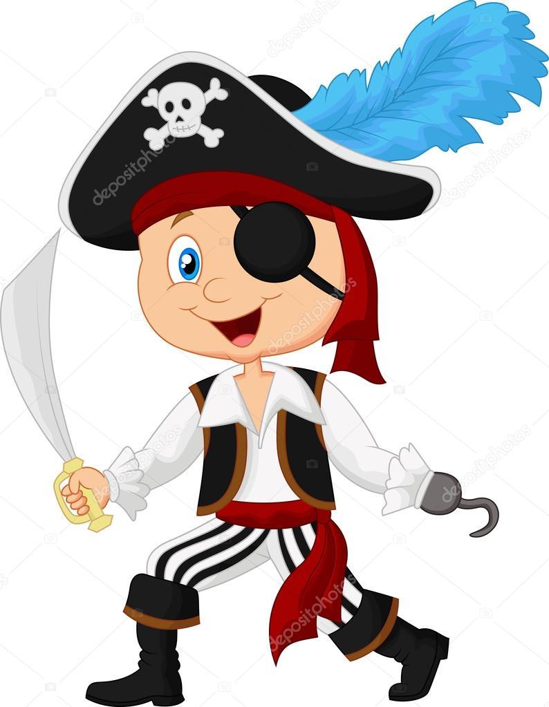 Cute cartoon pirate — Stock Vector © tigatelu #53338537