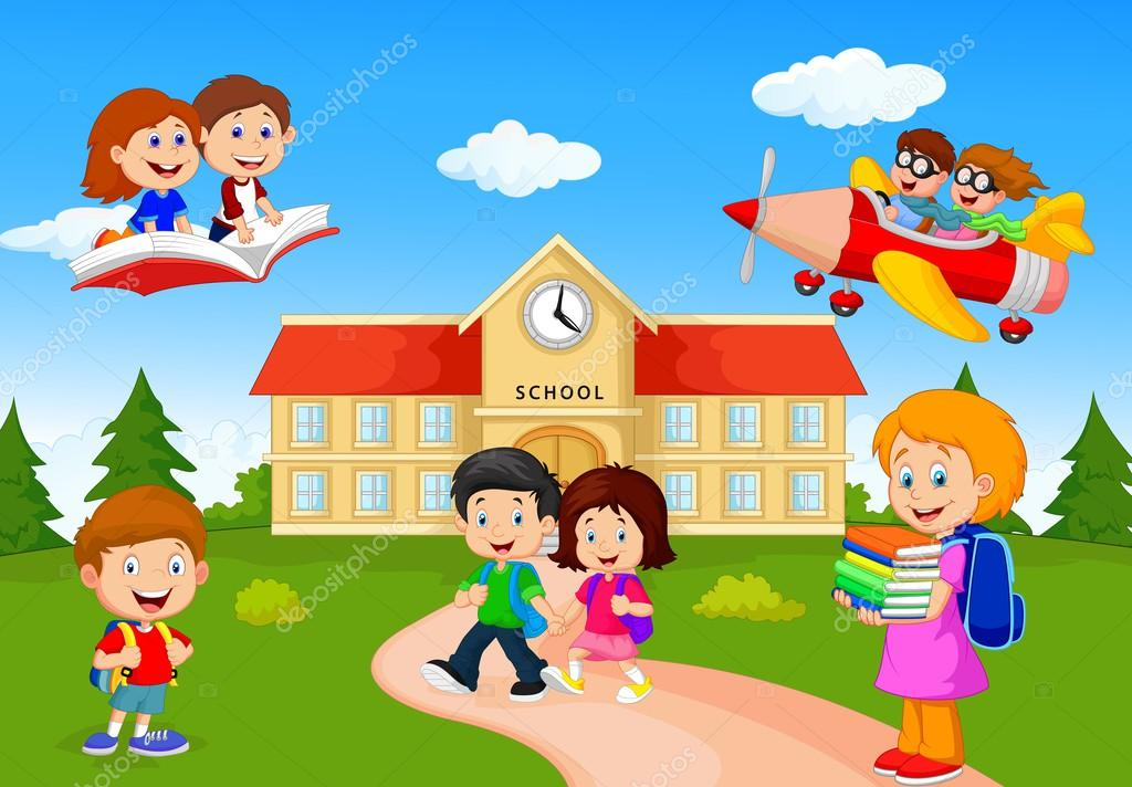 Niños En Edad Escolar Feliz De Dibujos Animados Archivo Imágenes