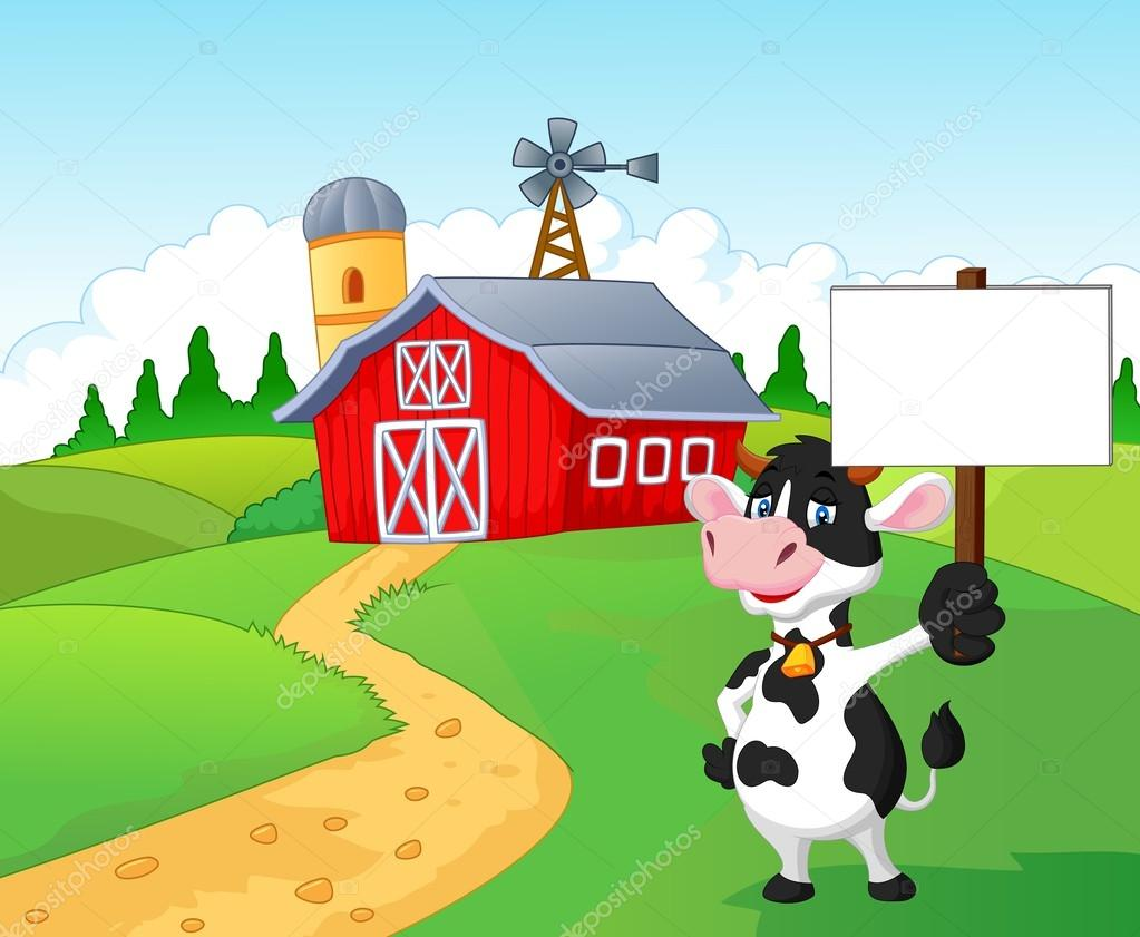 Cartoon Cow Holding Blank Sign With Farm Background