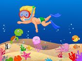Little boy cartoon diving in the ocean