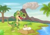 Cartoon Mother tyrannosaurus with baby hatching
