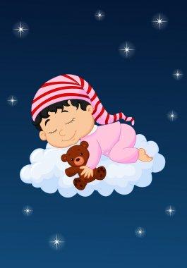 Baby cartoon sleeping on the cloud