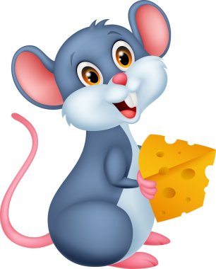 Cute mouse cartoon holding a piece of cheese