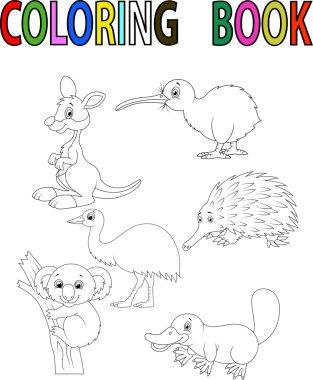 Cartoon Australia animal coloring book