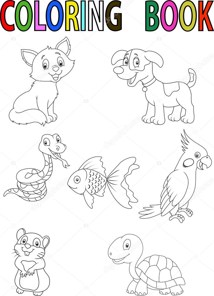 Cartoon Pet Coloring Book Stock Vector C Tigatelu 63456811
