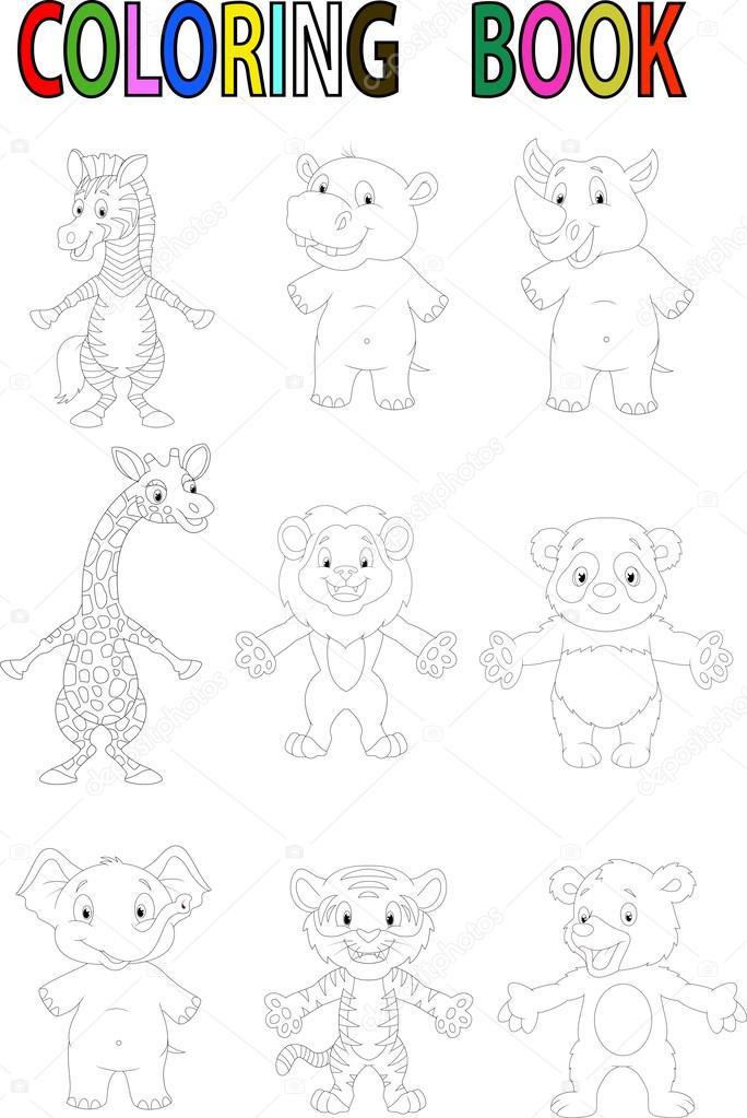 Libro para colorear animales salvajes dibujos animados — Archivo ...