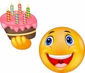 Smiley emoticon cartoon holding birthday cake