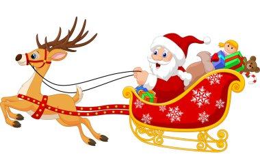 Cartoon Santa in his Christmas sled being pulled by reindeer