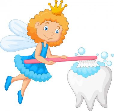 Tooth fairy cartoon brushing tooth