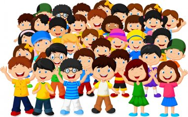 Crowd children cartoon
