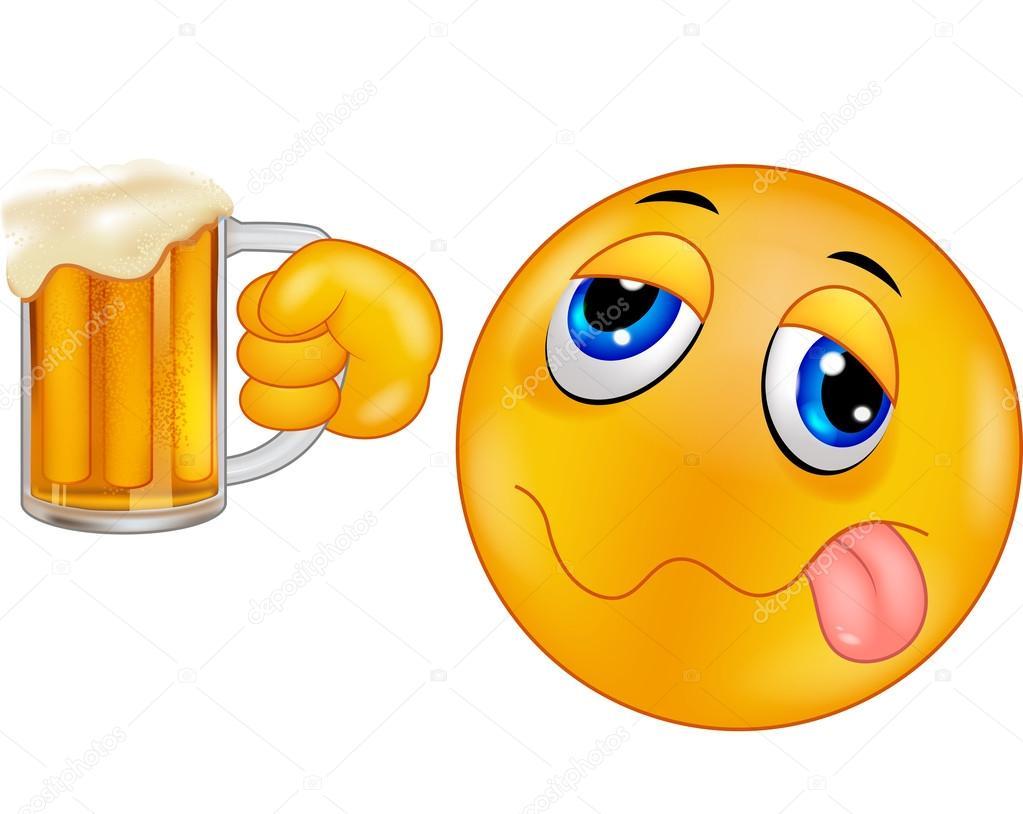 emoticon sonriente sosteniendo la cerveza de la historieta vector de stock tigatelu 63470073. Black Bedroom Furniture Sets. Home Design Ideas
