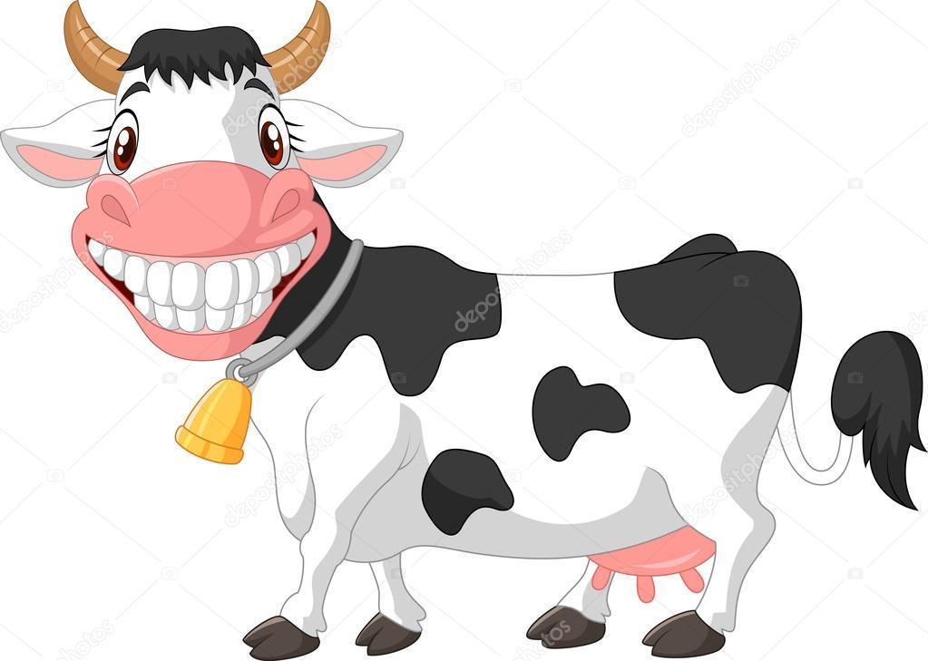 Vector Vacas Animadas Vaca Feliz De Dibujos Animados Vector De