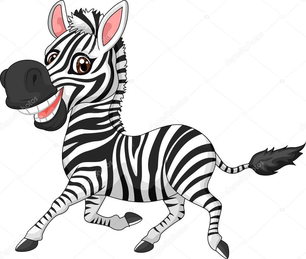 Zebra simpatico cartone animato — vettoriali stock