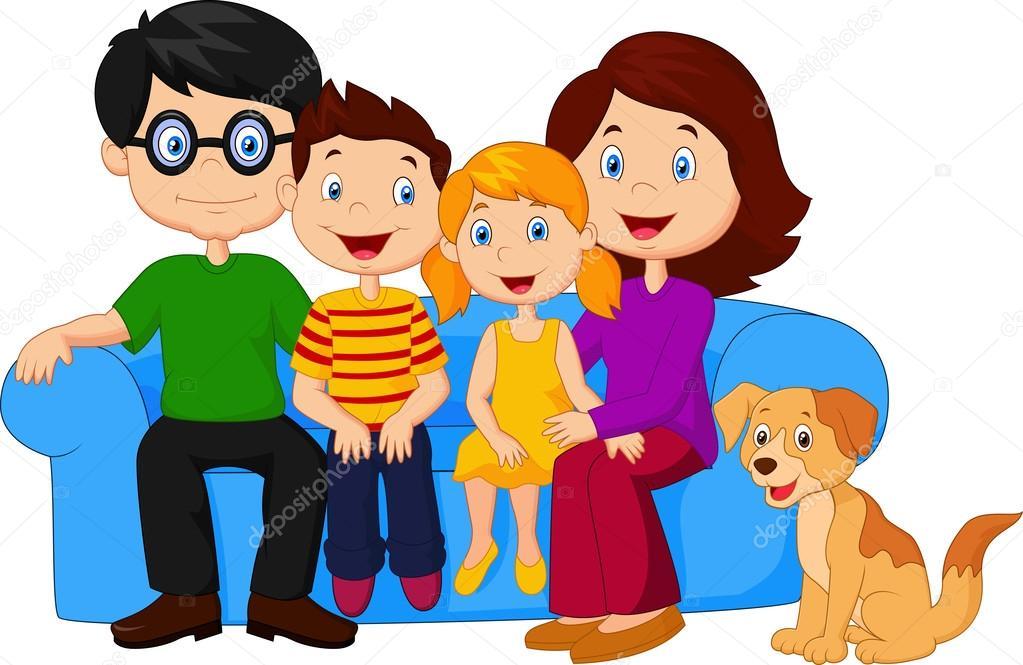 Dibujos Animados Familia Feliz Sentado En El Sofá Archivo Imágenes