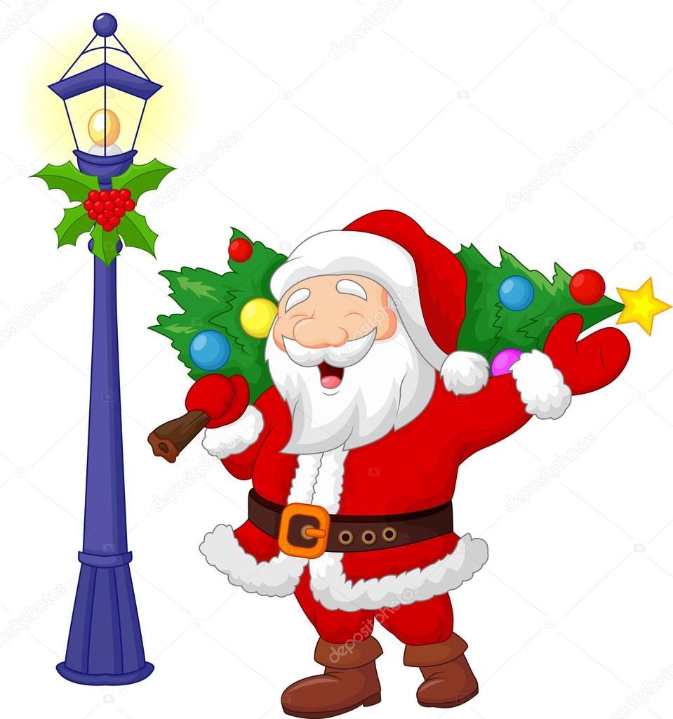 Desenho De Papai Noel Carregando Uma árvore De Natal