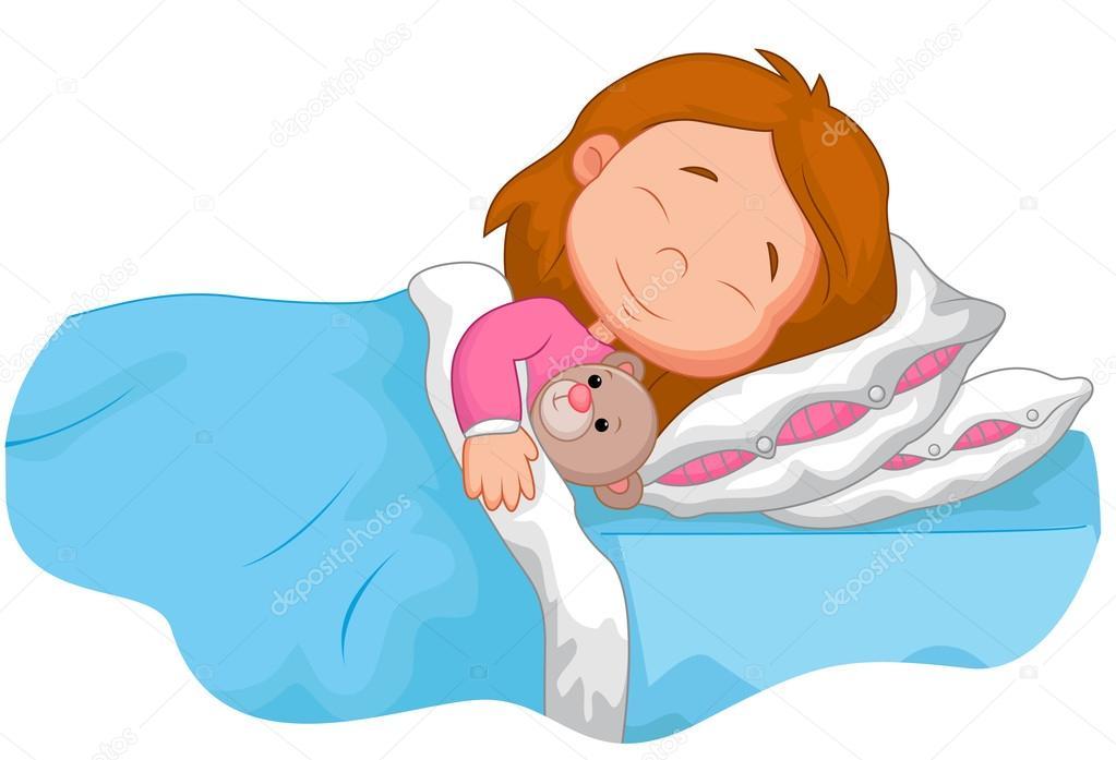 Chica De Dibujos Animados Dormir Con El Oso De Peluche