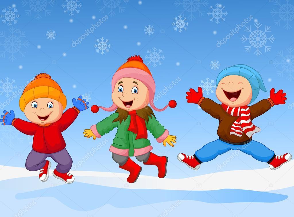 Ni os de dibujos animados saltar juntos en invierno for Imagenes de patios de invierno