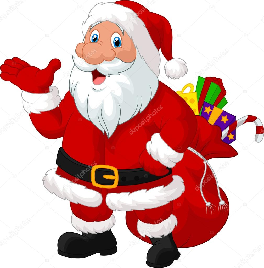 Desenho De Papai Noel Feliz Com Saco