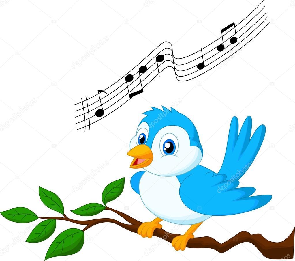 Vector Pájaro Cantando Dibujos Animados Del Pájaro Azul Cantando